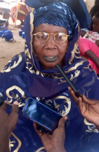 Dieynaba speaking out at an inter-village meeting in Senegal.